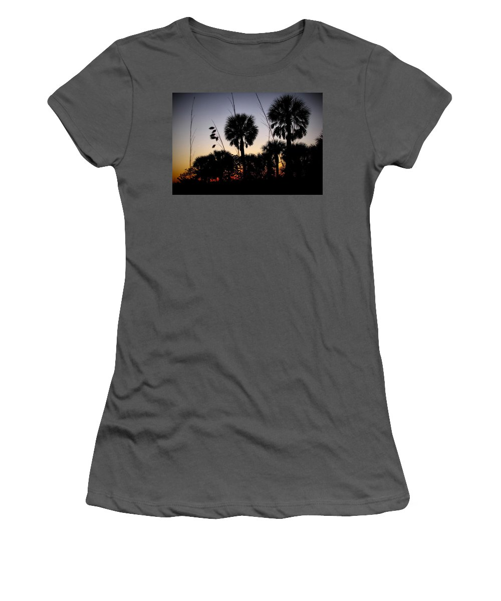 Beach Women's T-Shirt (Athletic Fit) featuring the photograph Beach Foliage At Sunset by Phil Penne