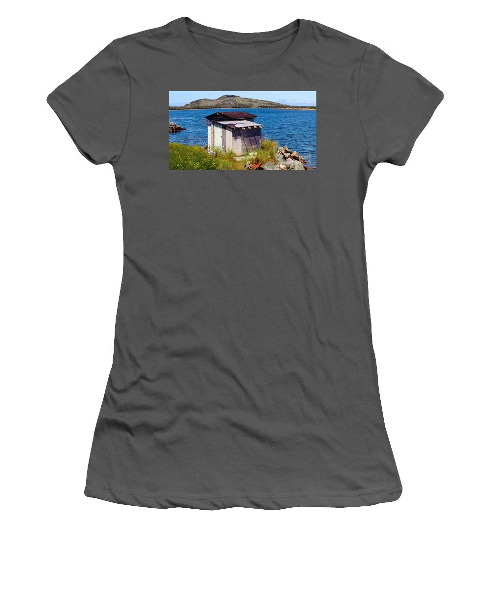 Old Shed And Buttercups Women's T-Shirt (Athletic Fit) featuring the photograph Beauty And The Beast - Buttercups And Old Shed by Barbara Griffin