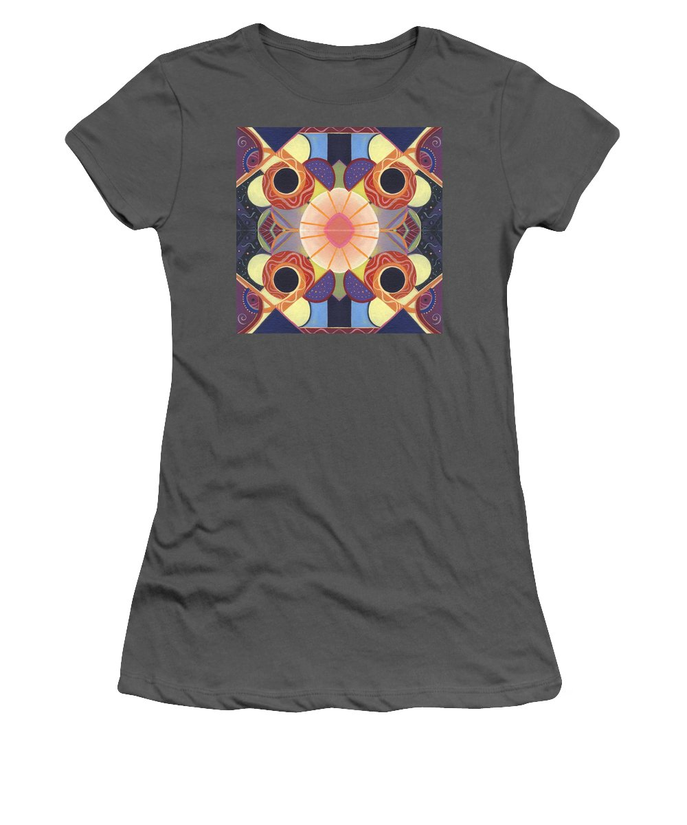 Abstract Women's T-Shirt (Athletic Fit) featuring the digital art Beauty In Symmetry 4 - The Joy Of Design X X Arrangement by Helena Tiainen