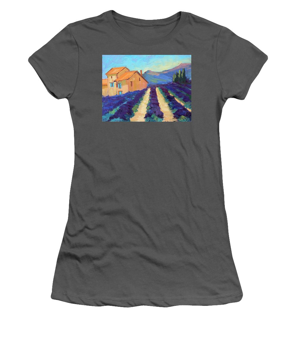 Bedoin Women's T-Shirt (Athletic Fit) featuring the painting Bedoin - Provence Lavender by Diane McClary
