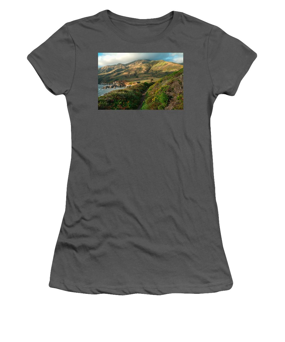 Landscape Women's T-Shirt (Athletic Fit) featuring the photograph Big Sur Trail At Soberanes Point by Charlene Mitchell