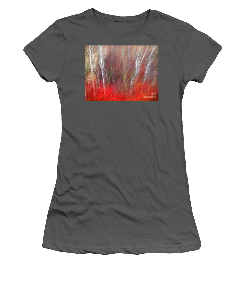 Blur Women's T-Shirt (Athletic Fit) featuring the photograph Birch Trees Abstract by Tara Turner