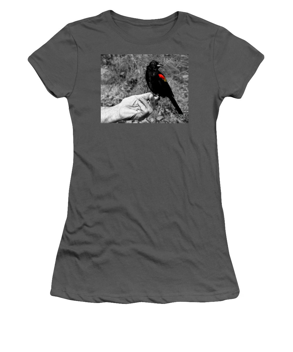 Bird Women's T-Shirt (Athletic Fit) featuring the photograph Bird In The Hand.seattle.bw by Jennie Breeze
