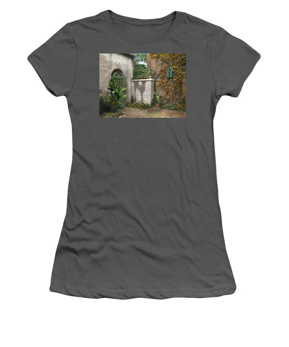 Tranquil Women's T-Shirt (Athletic Fit) featuring the photograph Birdhouse And Gate by Terry Reynoldson