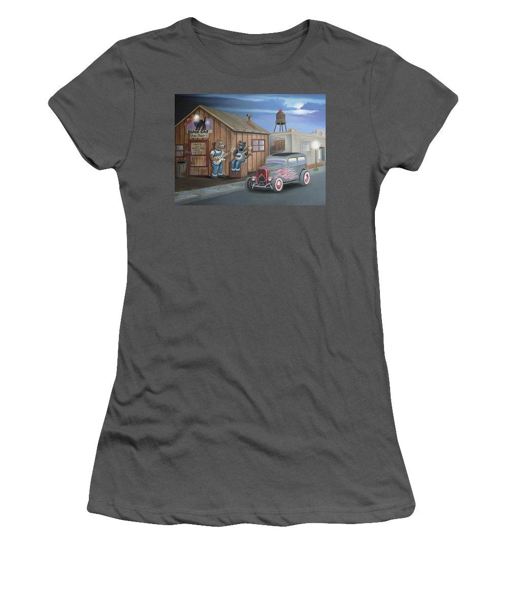 Cat Women's T-Shirt (Athletic Fit) featuring the digital art Black Cat Juke Joint by Stuart Swartz