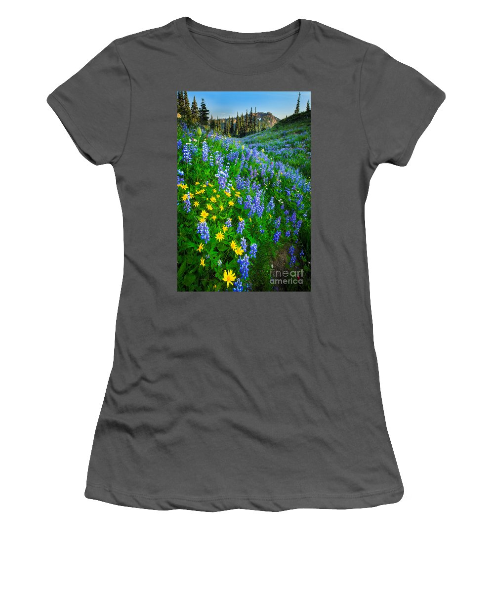 America Women's T-Shirt (Athletic Fit) featuring the photograph Blue And Yellow Hillside by Inge Johnsson