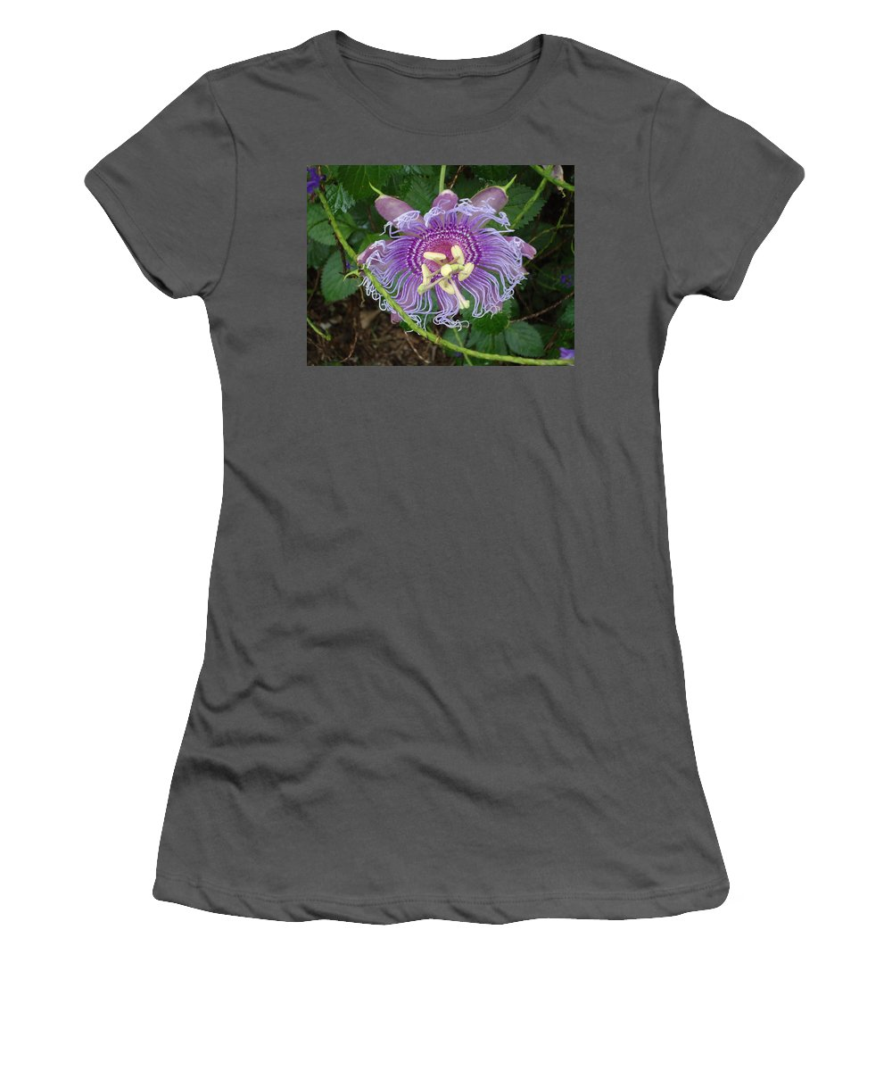 Blue Flower Petals Women's T-Shirt (Athletic Fit) featuring the photograph Blue Flower Blooming by Patricia Twardzik
