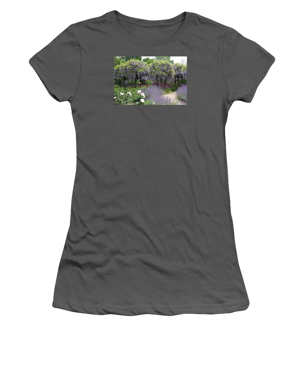 Flowers Women's T-Shirt (Athletic Fit) featuring the photograph Blue Flowergarden With Wisteria by Christiane Schulze Art And Photography