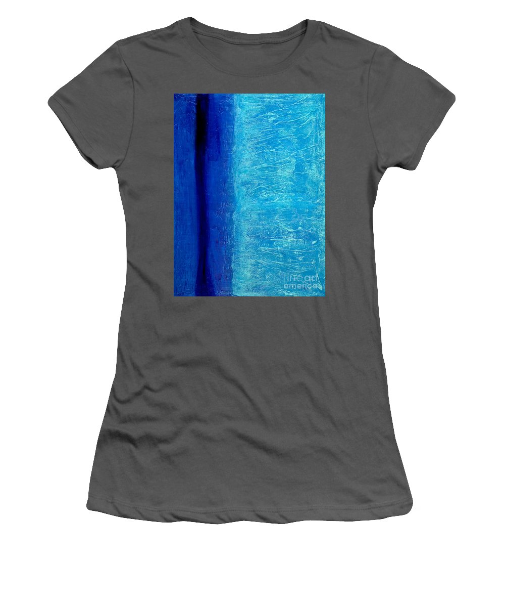 Abstract Women's T-Shirt (Athletic Fit) featuring the painting Blue Serenity by Bruce Stanfield