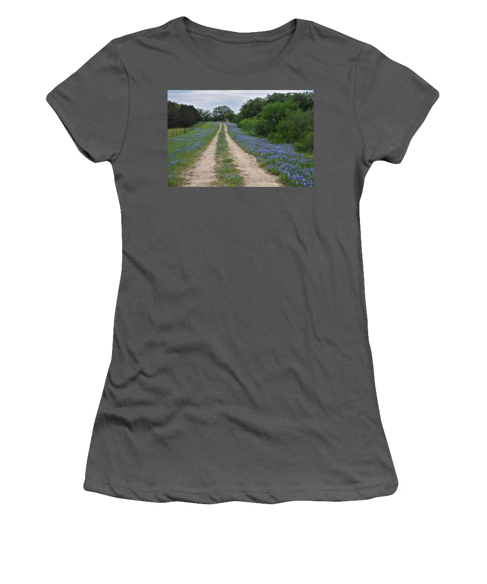 Wildflowers Women's T-Shirt (Athletic Fit) featuring the photograph Bluebonnet Trail by Lynn Bauer