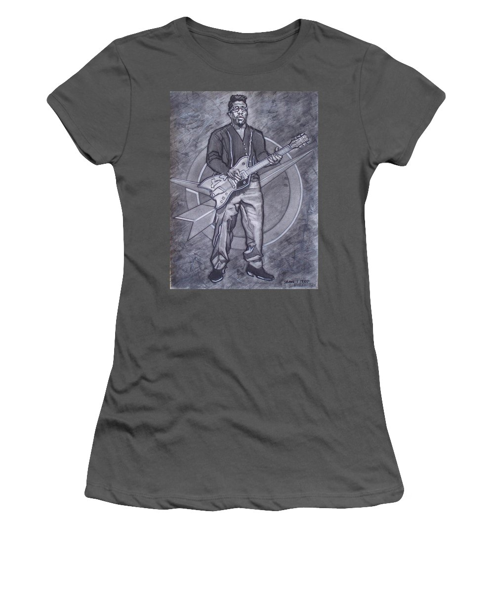 Texas;charcoal;king Of Rock;rock And Roll;music;1950s;blues;musician;funk;electric Guitar;marble;soul Women's T-Shirt (Athletic Fit) featuring the drawing Bo Diddley - Have Guitar Will Travel by Sean Connolly