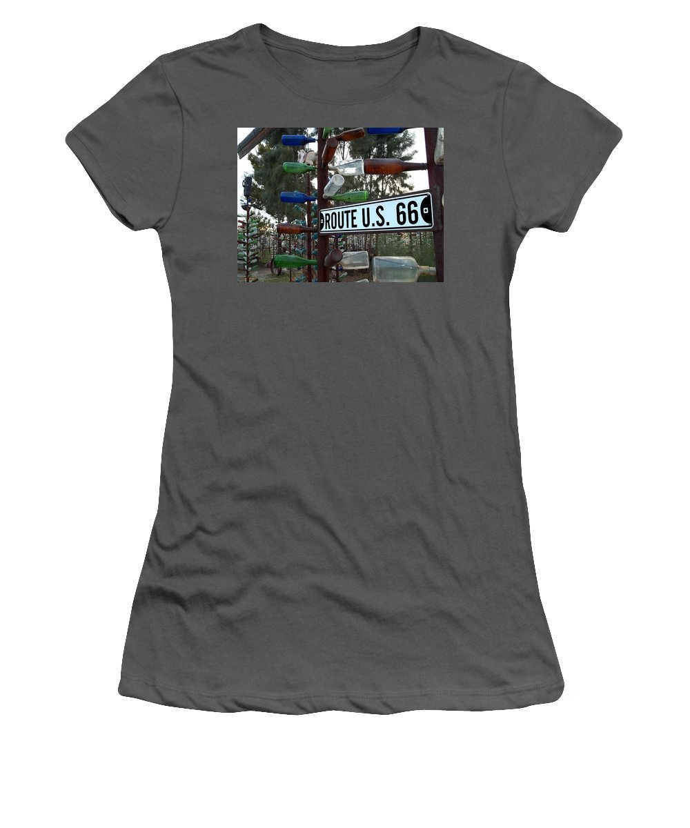 Route 66 Women's T-Shirt (Athletic Fit) featuring the photograph Bottle Trees Route 66 by Glenn McCarthy Art and Photography