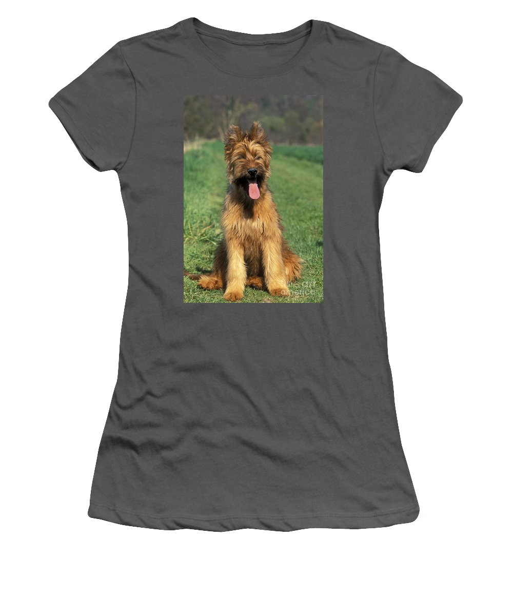 Briard Women's T-Shirt (Athletic Fit) featuring the photograph Briard Puppy by Jean-Michel Labat
