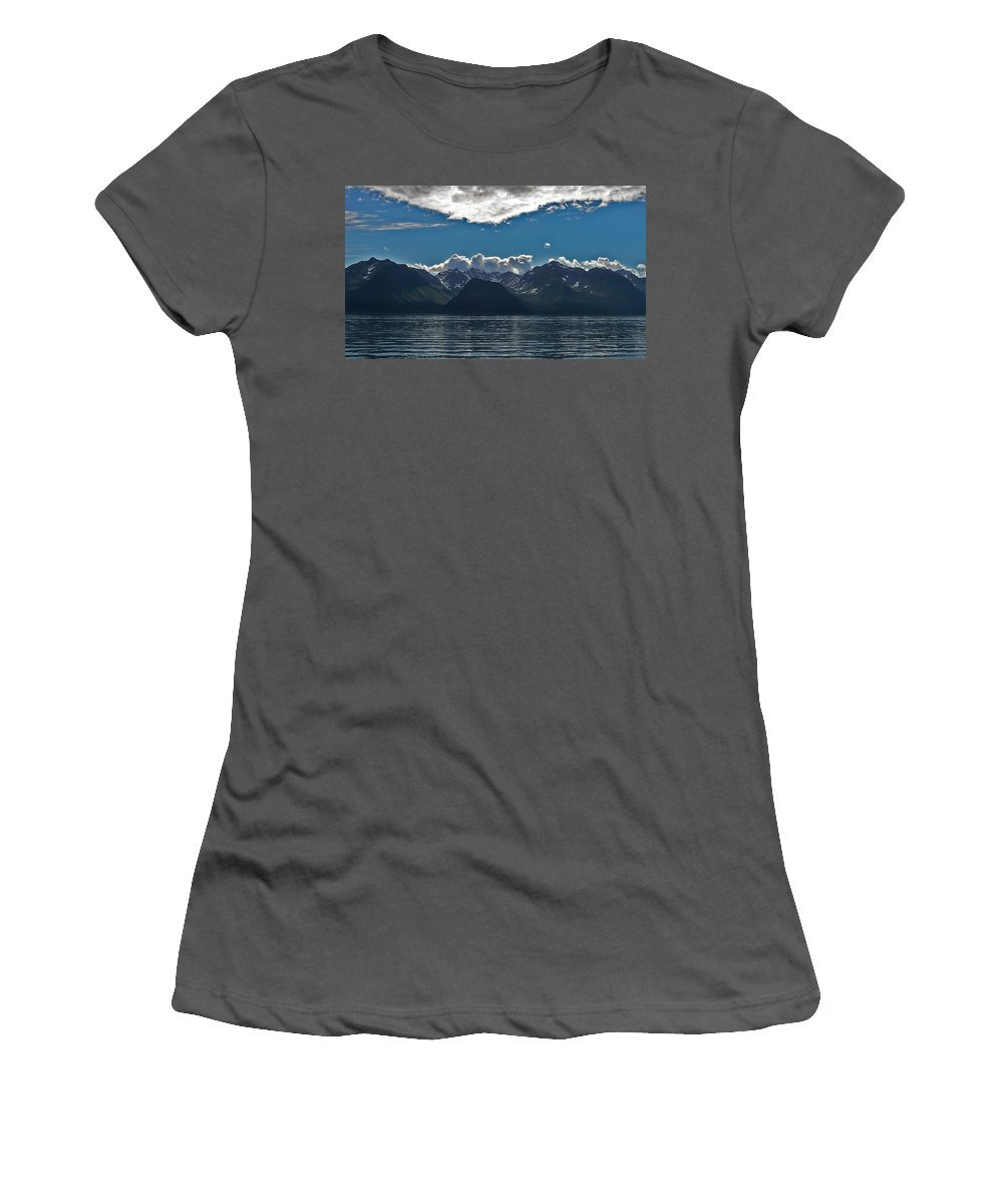 Alaska Glacier Women's T-Shirt (Athletic Fit) featuring the photograph Bright And Cloudy by Aimee L Maher ALM GALLERY