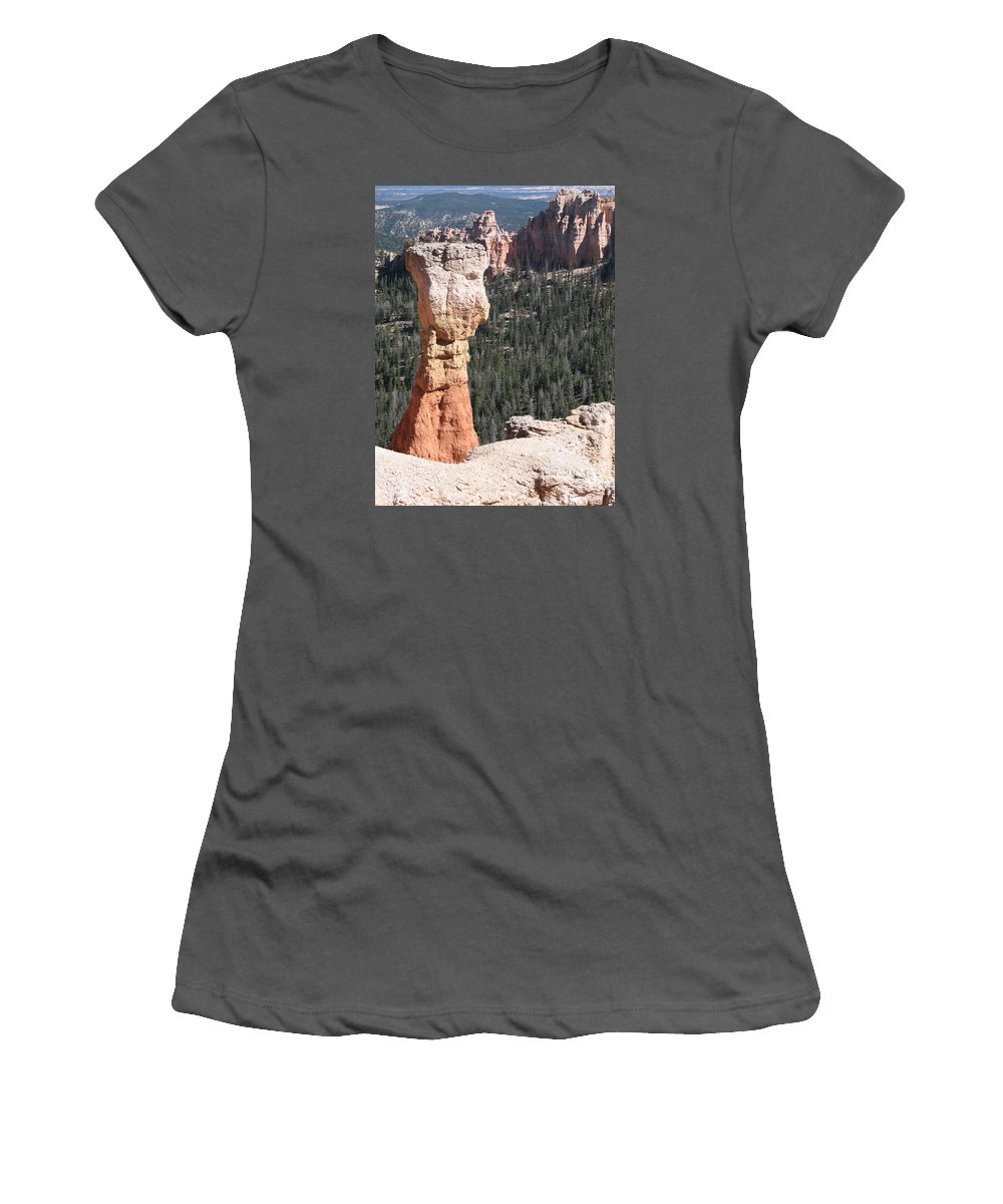 Canyon Women's T-Shirt (Athletic Fit) featuring the photograph Interesting Bryce Canyon Rockformation by Christiane Schulze Art And Photography