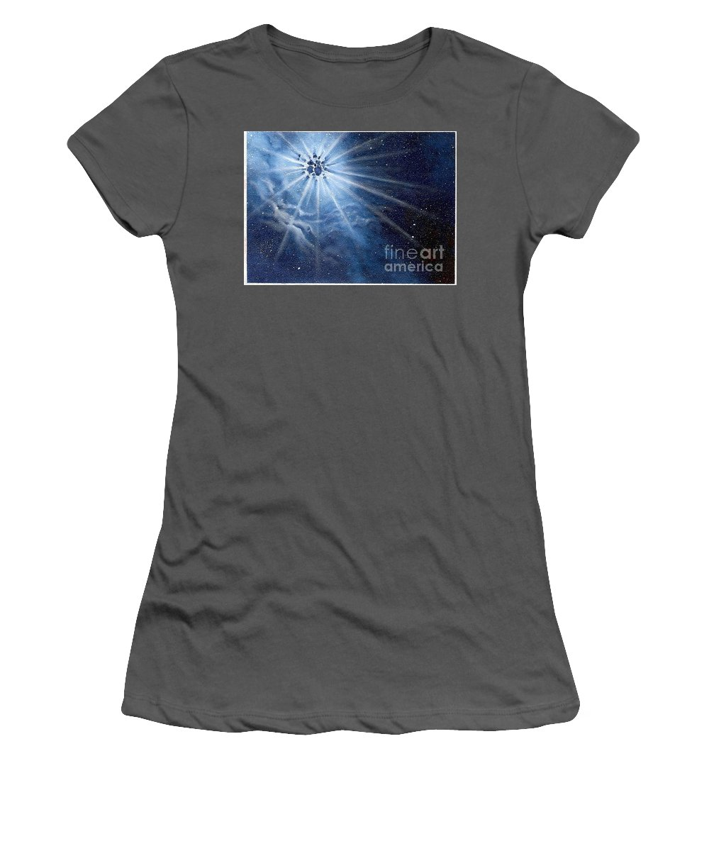 Outerspace Women's T-Shirt (Athletic Fit) featuring the painting Burst Of Light by Murphy Elliott