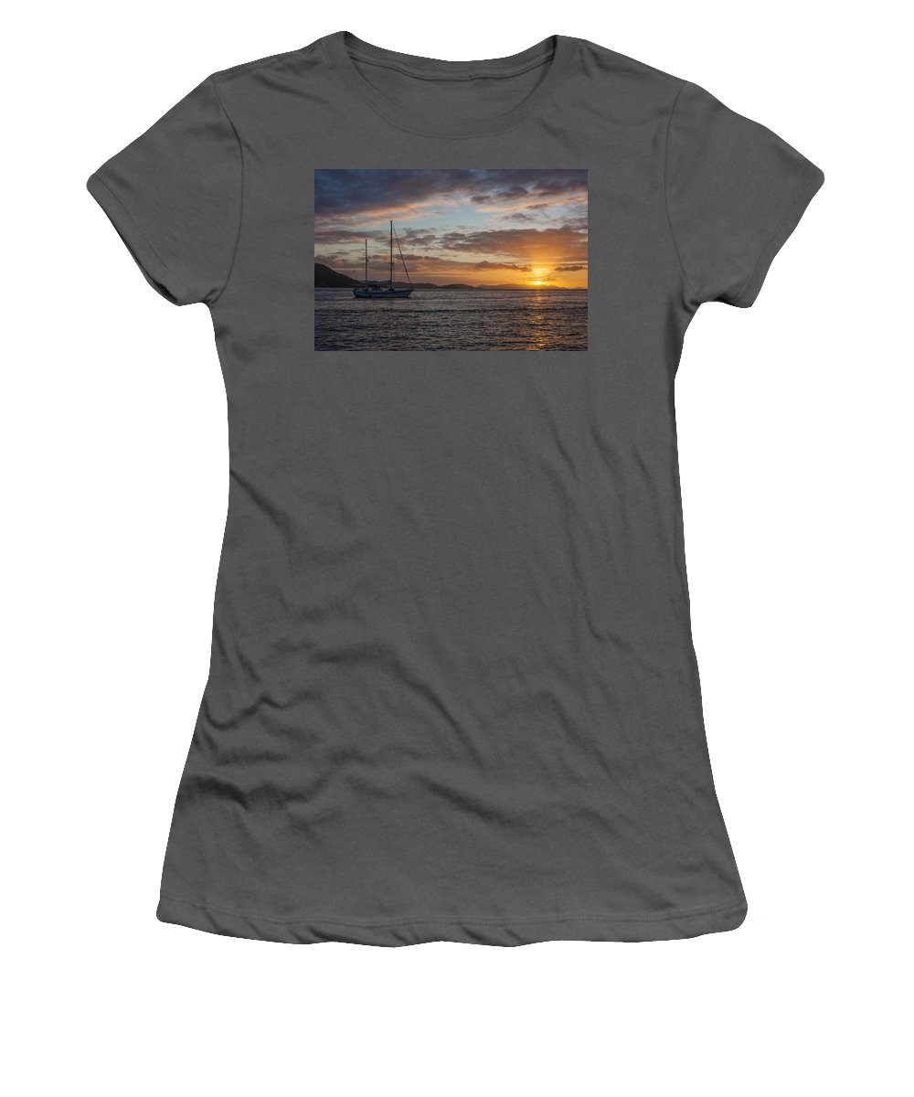 3scape Women's T-Shirt (Athletic Fit) featuring the photograph Bvi Sunset by Adam Romanowicz