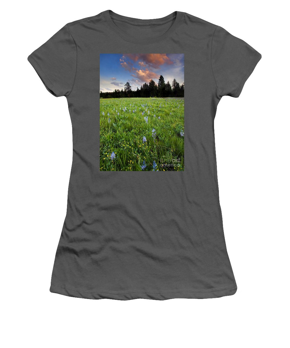 Wildflowers Women's T-Shirt (Athletic Fit) featuring the photograph Camas Sunset by Mike Dawson