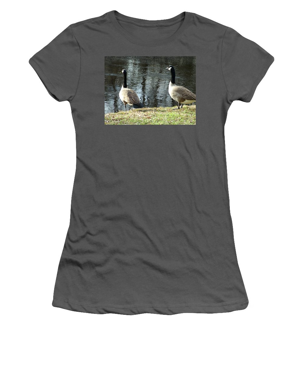 Canadian Women's T-Shirt (Athletic Fit) featuring the photograph Canadian Geese On Spaulding Pond by Geoffrey McLean