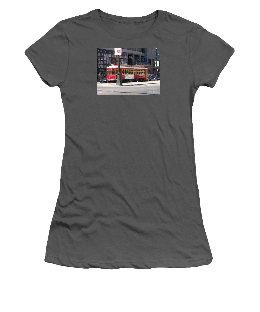 Canal Street Women's T-Shirt (Athletic Fit) featuring the photograph Canal Street Streetcar by Kevin Croitz