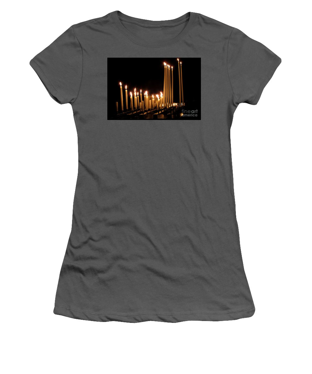 Candles Women's T-Shirt (Athletic Fit) featuring the photograph Candles In Church by Olivier Le Queinec