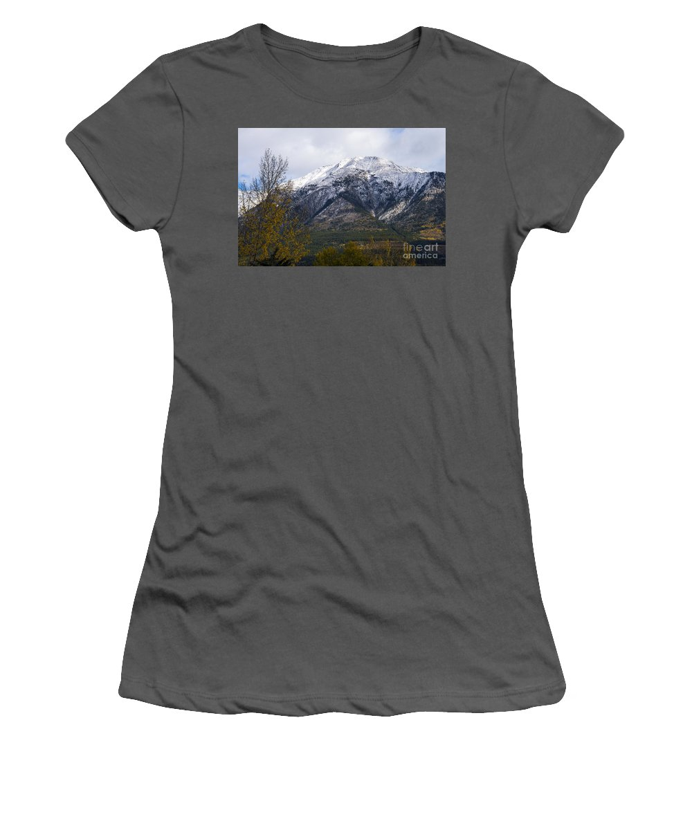 Canmore Canada Tree Trees Rocky Mountains Mountain Canadian Rockies Fall Color Autumn Colors Peak Peaks Snow Cloud Clouds Women's T-Shirt (Athletic Fit) featuring the photograph Canmore Rocky Mountain View by Bob Phillips