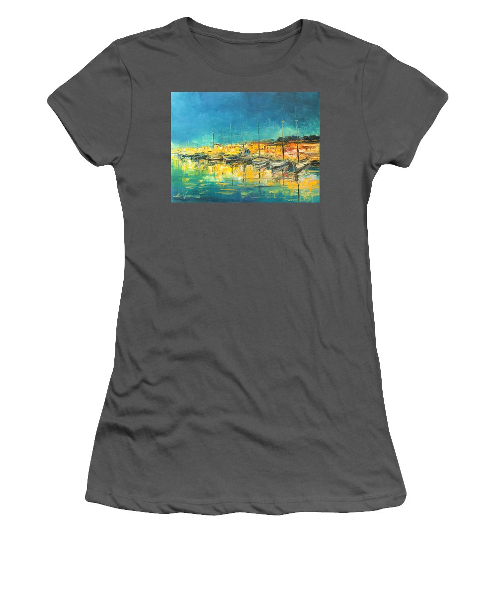 Cannes Harbour Women's T-Shirt (Athletic Fit) featuring the painting Cannes By Night by Luke Karcz
