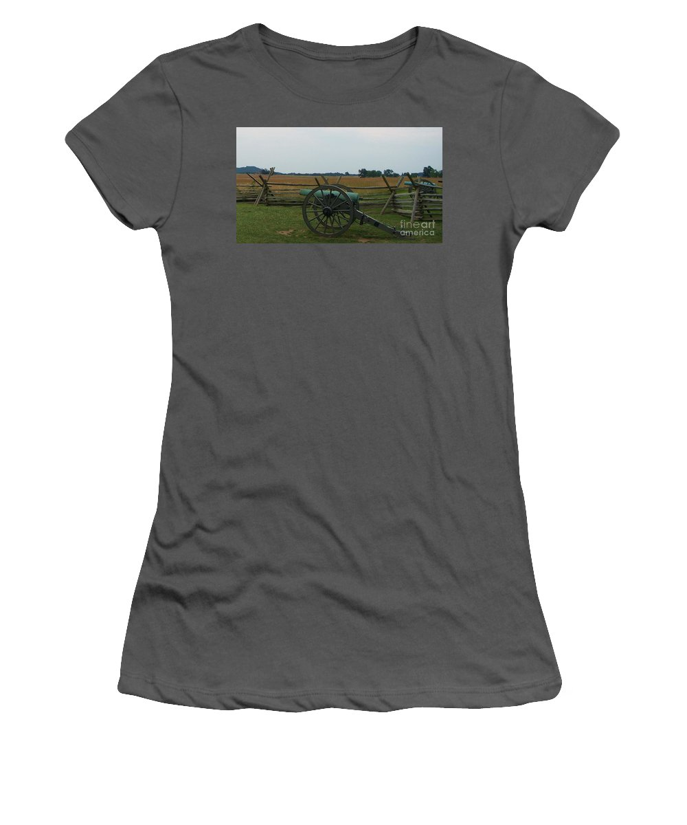 Cannon Women's T-Shirt (Athletic Fit) featuring the photograph Cannon At Gettysburg by Eric Schiabor