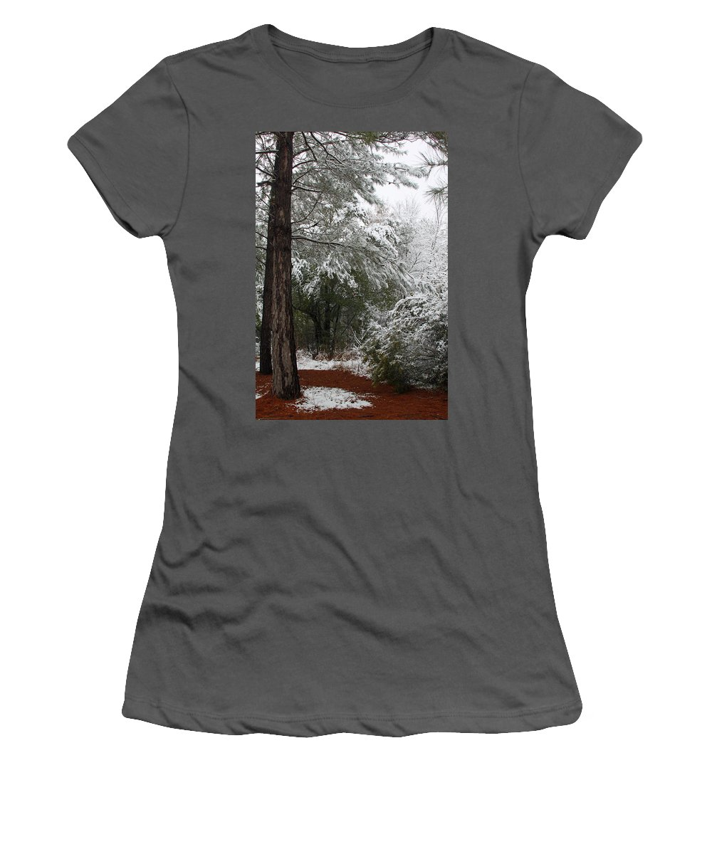 Snow Women's T-Shirt (Athletic Fit) featuring the photograph Carolina Snowfall by Carolyn Stagger Cokley