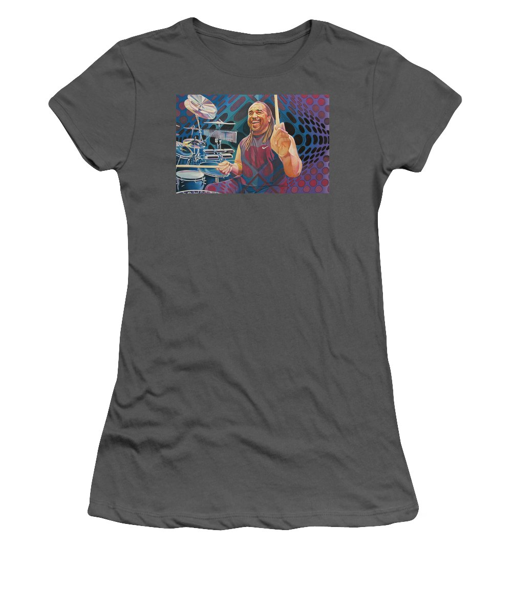 Carter Beauford Women's T-Shirt (Athletic Fit) featuring the drawing Carter Beauford Pop-op Series by Joshua Morton
