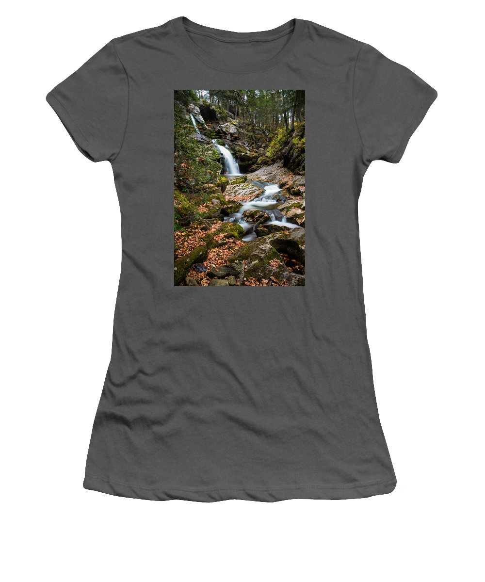 Kent Falls State Park Women's T-Shirt (Athletic Fit) featuring the photograph Cascading Falls by Geoffrey Bolte