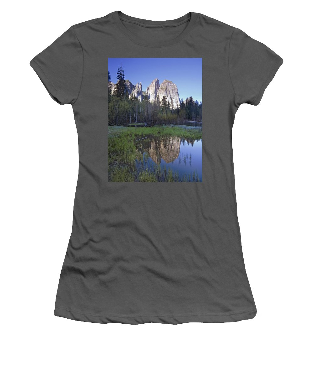 Feb0514 Women's T-Shirt (Athletic Fit) featuring the photograph Cathedral Rock And The Merced River by Tim Fitzharris