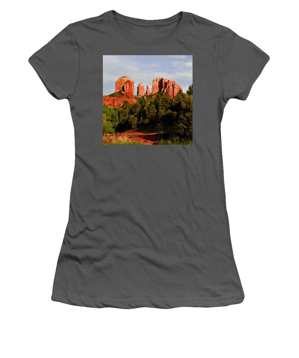 Arizona Women's T-Shirt (Athletic Fit) featuring the painting Cathedral Rock by Bob and Nadine Johnston