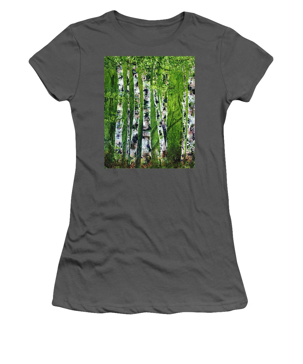Promise Women's T-Shirt (Athletic Fit) featuring the painting Celadon Spring by Cindy Johnston