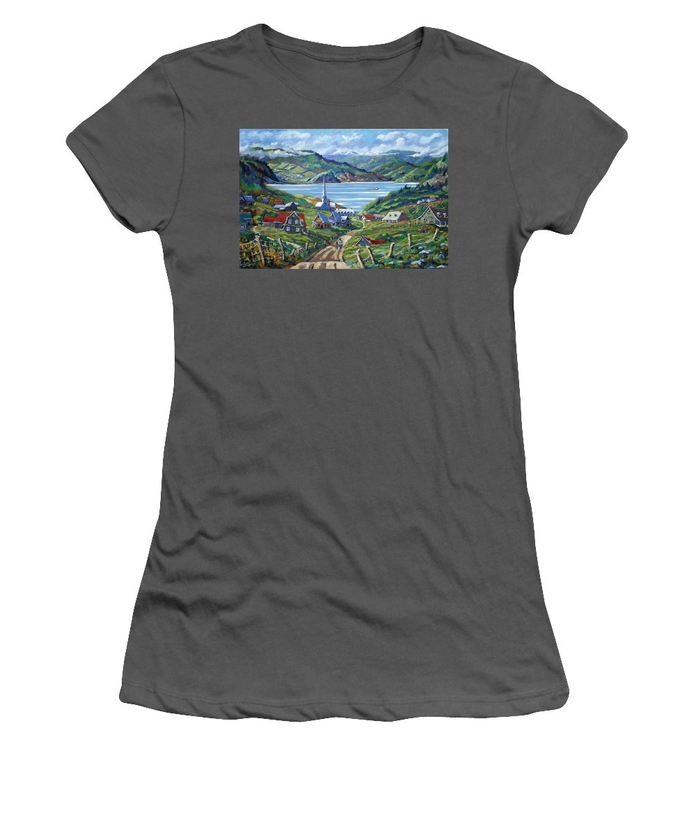 Women's T-Shirt (Athletic Fit) featuring the painting Charlevoix Scene by Richard T Pranke