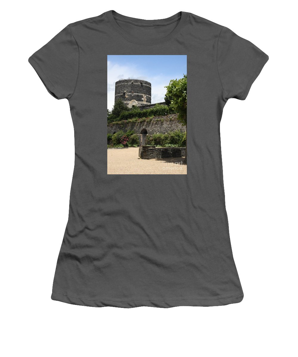 Castle Women's T-Shirt (Athletic Fit) featuring the photograph Chateau D'angers Tower by Christiane Schulze Art And Photography