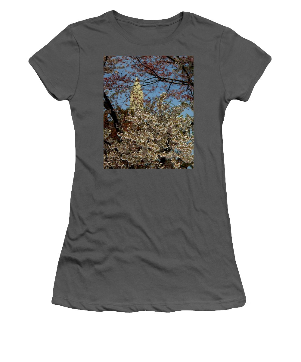Cherry Women's T-Shirt (Athletic Fit) featuring the photograph Cherry Blossoms And The Monument by John Feiser