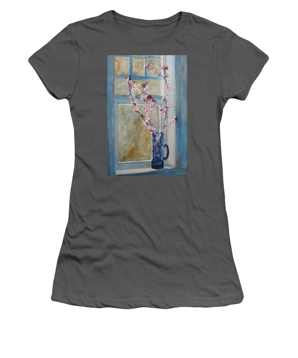 Cherry Blossoms Women's T-Shirt (Athletic Fit) featuring the painting Cherry Blossoms In A Blue Pitcher by Jenny Armitage