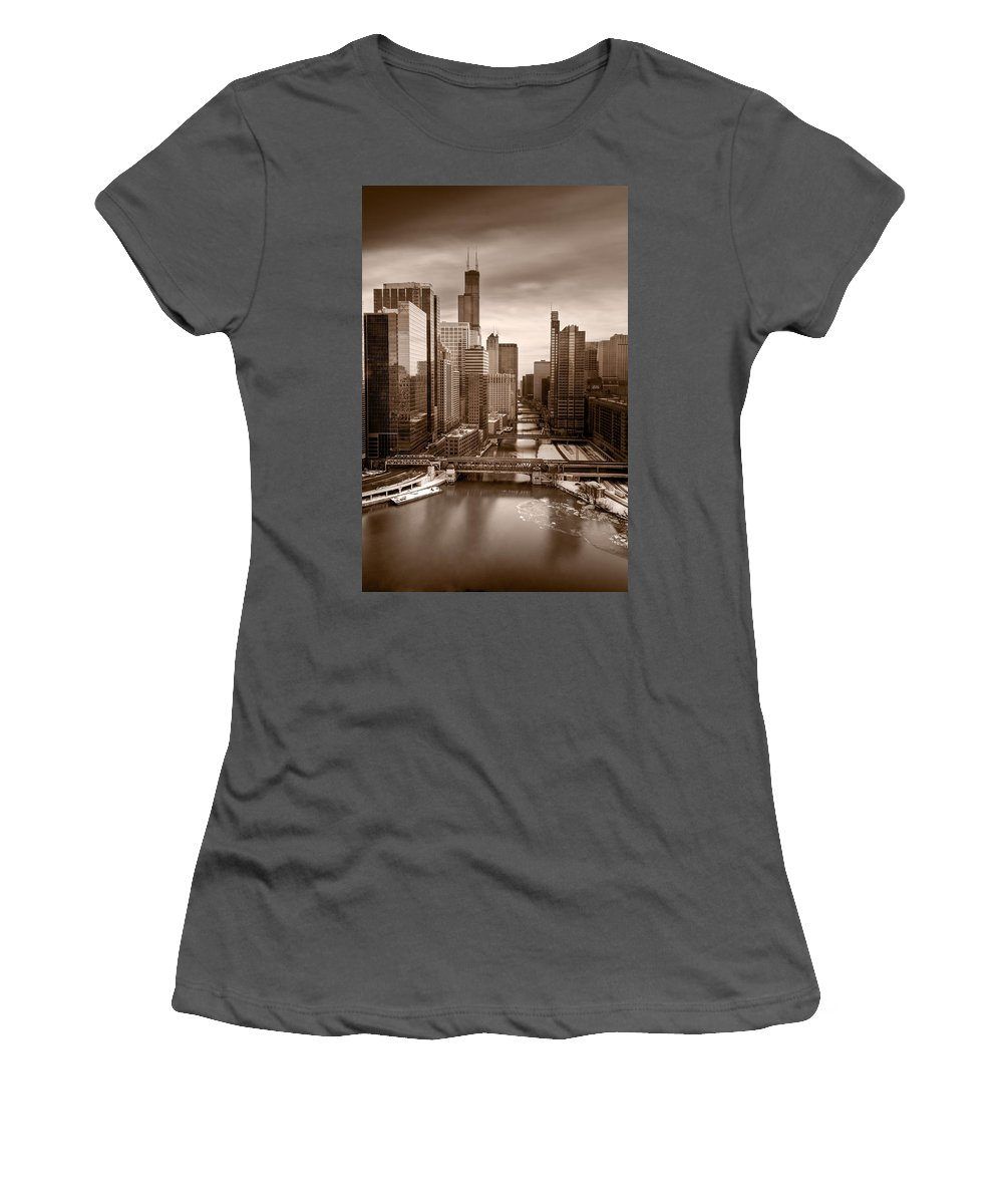 Train Women's T-Shirt (Athletic Fit) featuring the photograph Chicago City View Afternoon B And W by Steve Gadomski