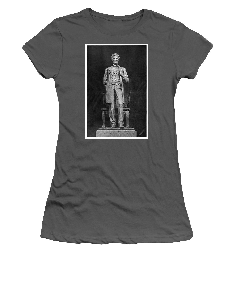 1887 Women's T-Shirt (Athletic Fit) featuring the painting Chicago Lincoln Statue by Granger