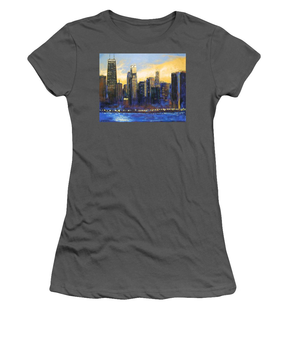 Chicago Skyline Women's T-Shirt (Athletic Fit) featuring the painting Chicago Sunset Looking South by Joseph Catanzaro