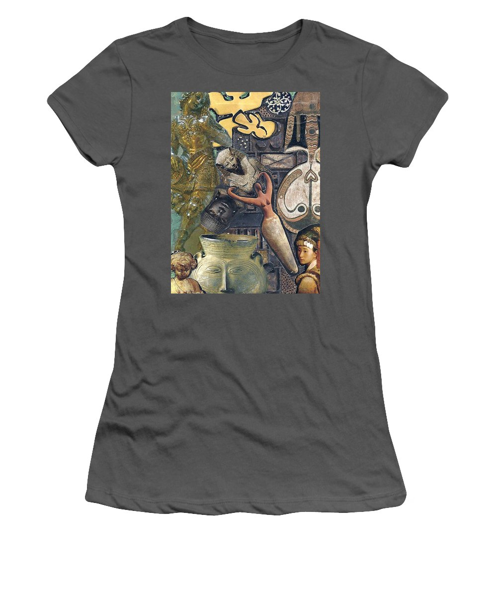Mixed Media Women's T-Shirt (Athletic Fit) featuring the mixed media Circles Of Life by Paula Emery