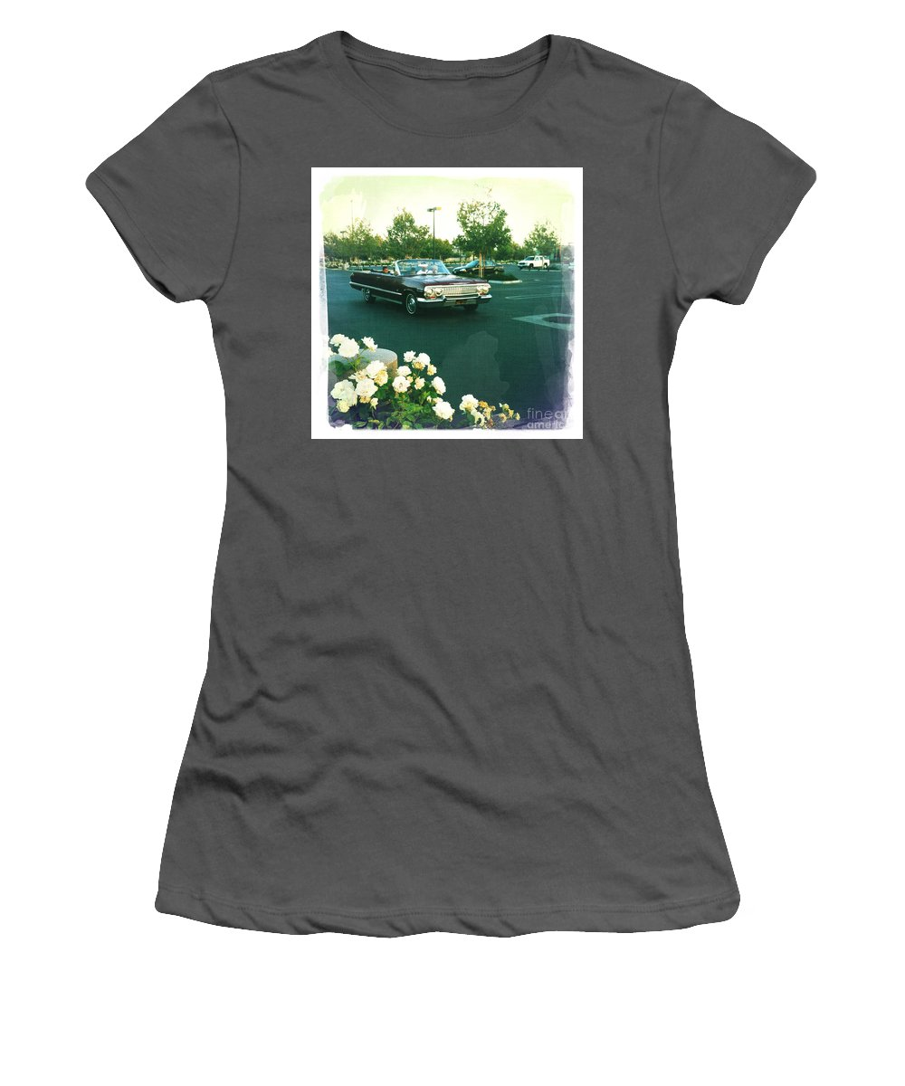 Classic Car Family Outing Women's T-Shirt (Athletic Fit) featuring the photograph Classic Car Family Outing by Nina Prommer
