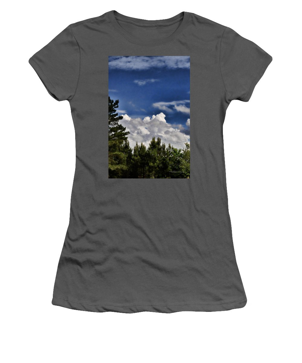Popular Women's T-Shirt (Athletic Fit) featuring the photograph Clouds Like Mountains Behind The Pines by Paulette B Wright