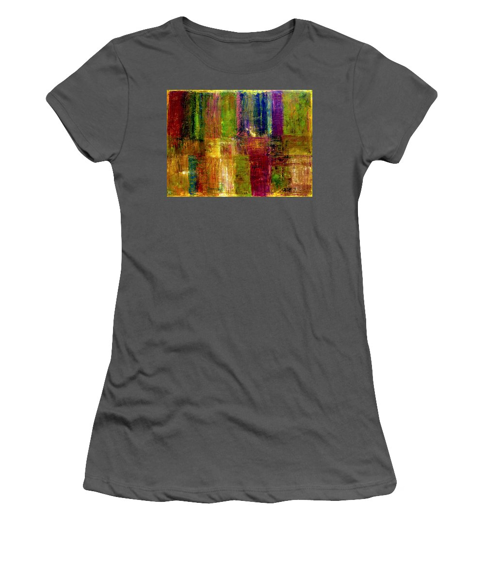 Abstract Women's T-Shirt (Athletic Fit) featuring the painting Color Panel Abstract by Michelle Calkins