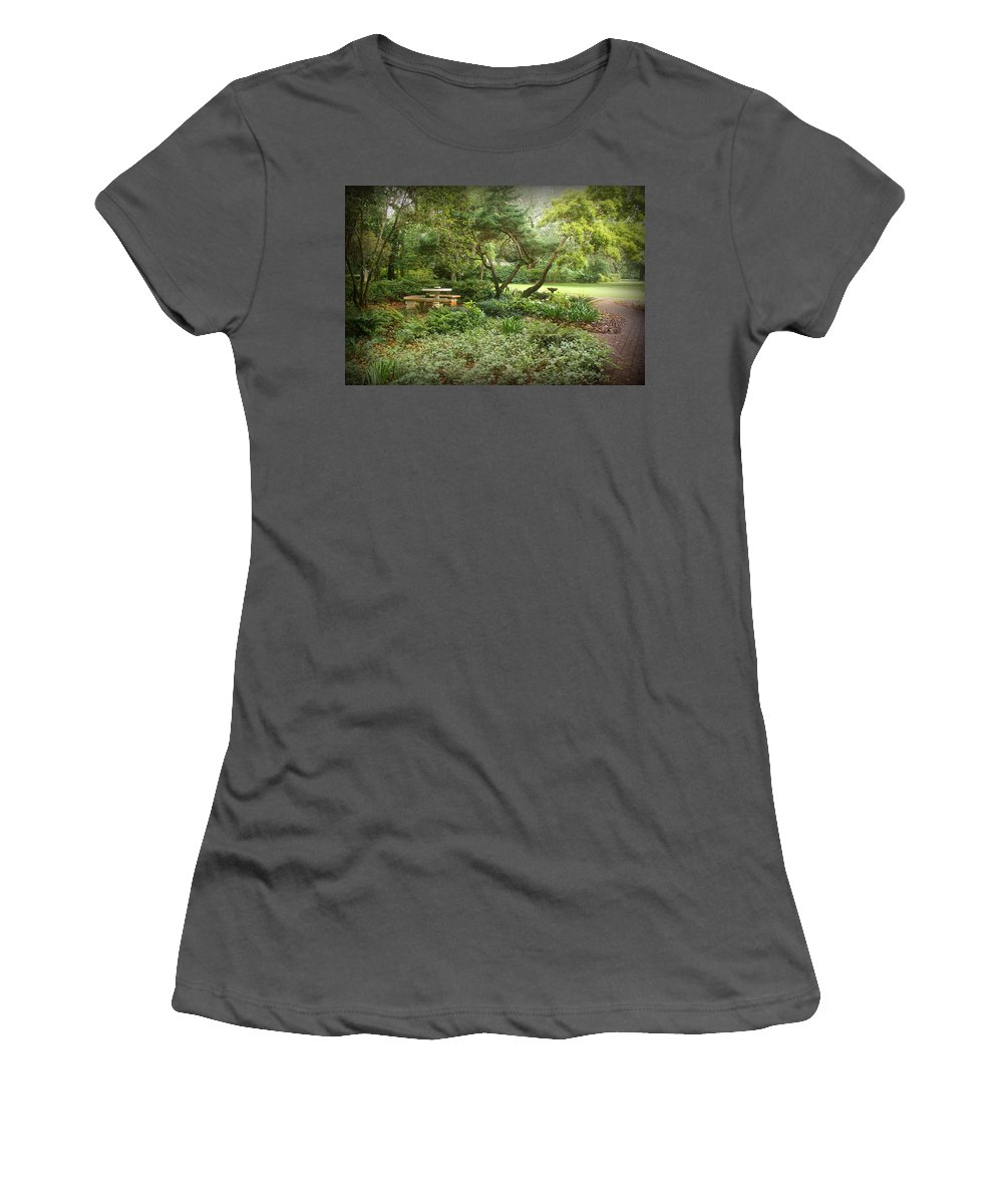 Landscape Women's T-Shirt (Athletic Fit) featuring the photograph Come Sit A While by Sandy Keeton