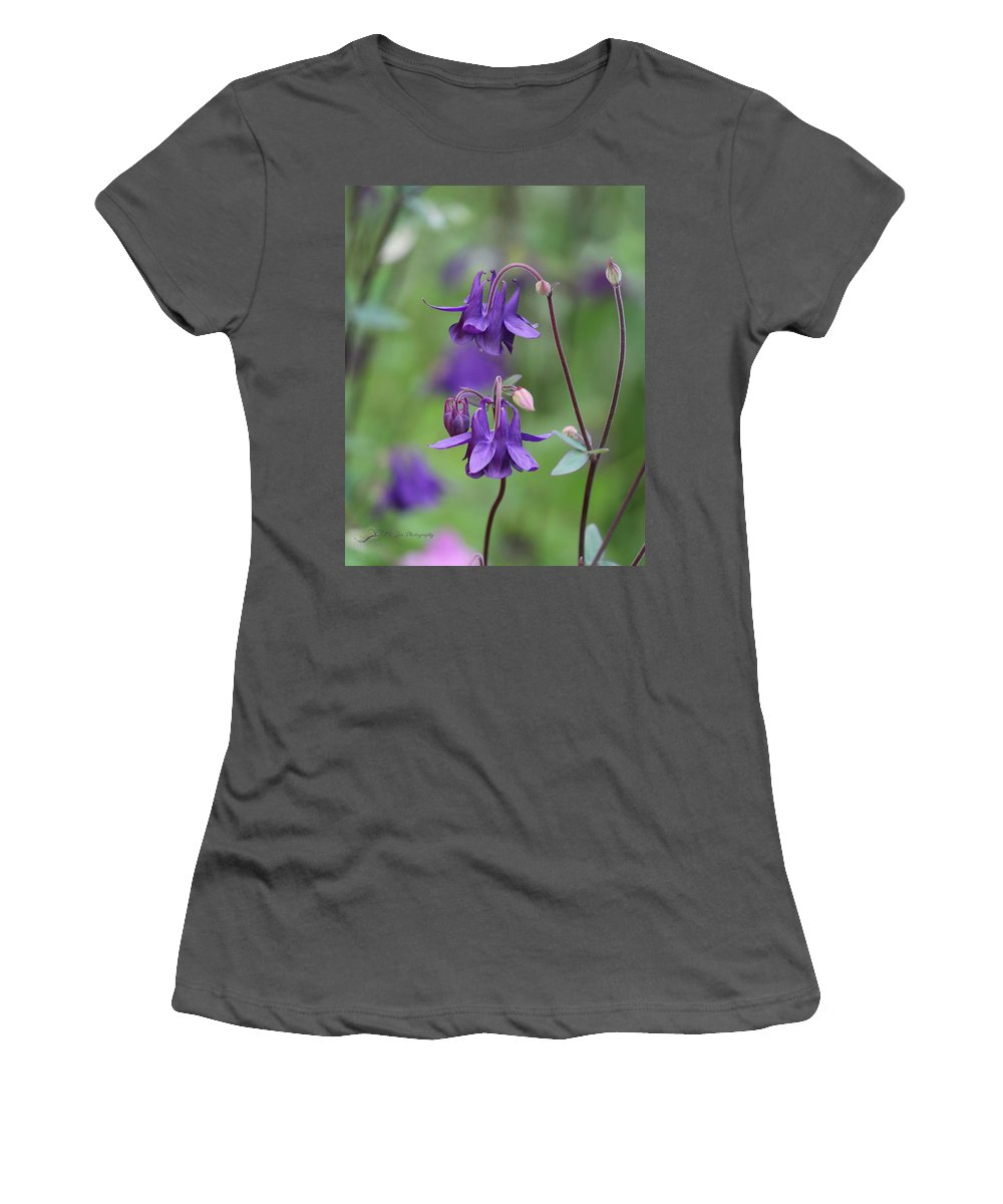 Flower Women's T-Shirt (Athletic Fit) featuring the photograph Comfort In Purple by Jeanette C Landstrom