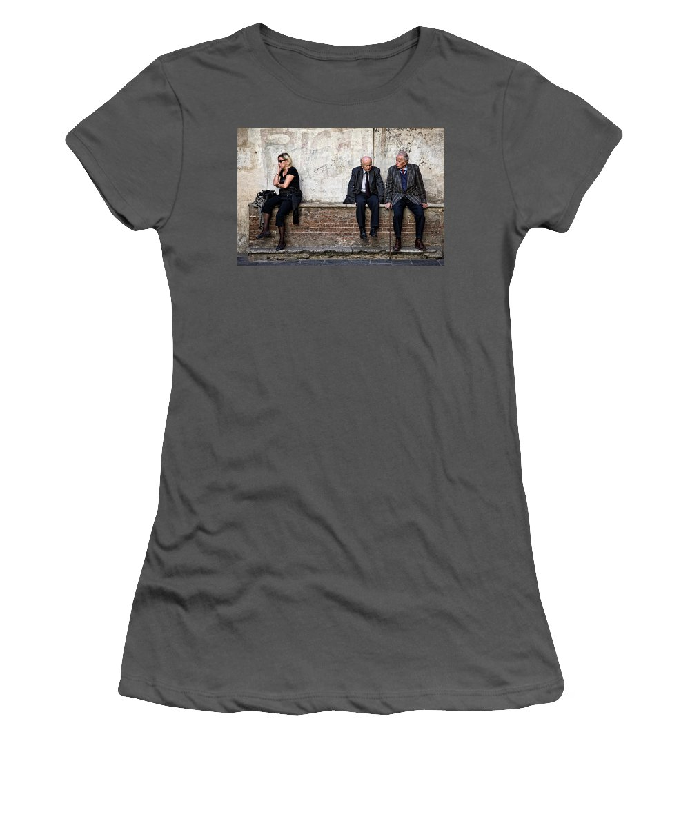 Street Photography Women's T-Shirt (Athletic Fit) featuring the photograph Communication by Dave Bowman