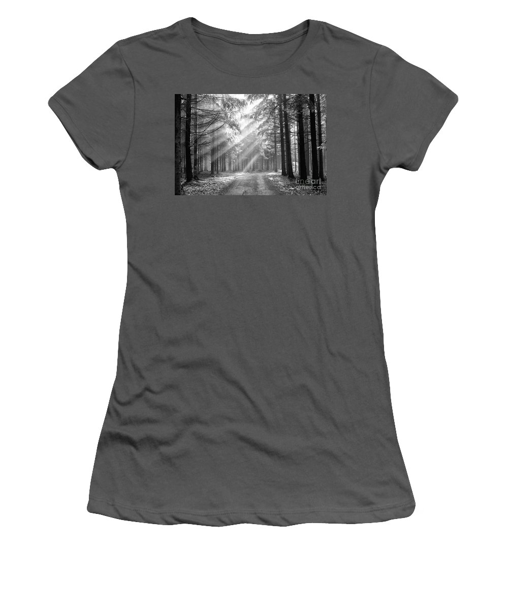 Forest Women's T-Shirt (Athletic Fit) featuring the photograph Coniferous Forest In Early Morning by Michal Boubin
