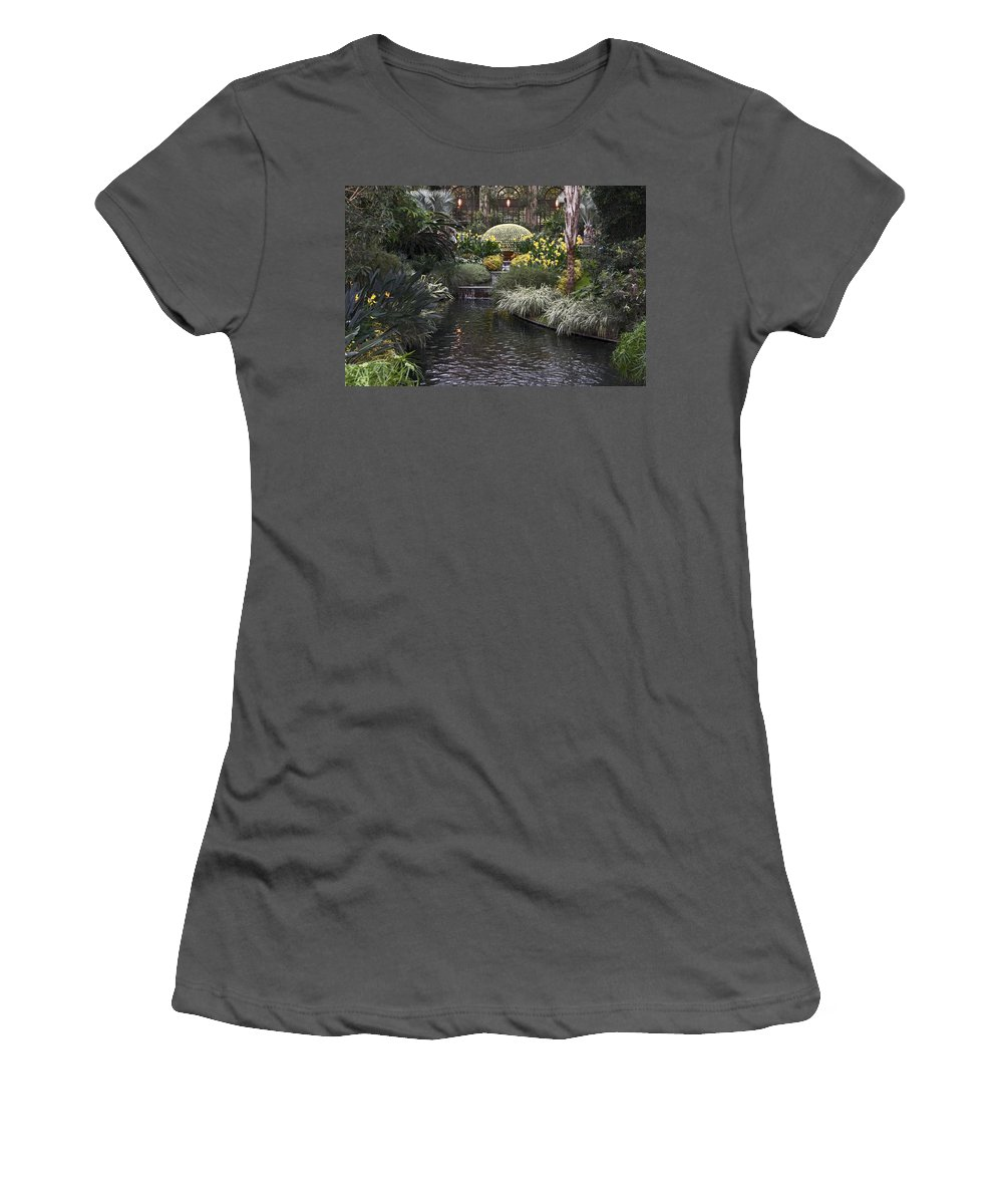 Chrysanthemum Display Women's T-Shirt (Athletic Fit) featuring the photograph Conservatory In Autumn by Sally Weigand